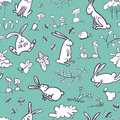 Seamless with rabbits Royalty Free Stock Images