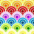 Seamless rainbow scaled circles Stock Images