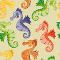 Seamless rainbow sea horse Stock Image