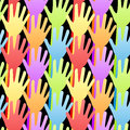 Seamless Rainbow Volunteering Hands Background