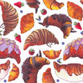 Seamless raster illustration with various croissant and berries. Croissant with strew topping and chocolate syrup, baked and fried Royalty Free Stock Photo