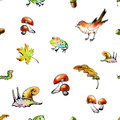 The seamless raster pattern with forest animals and leaves