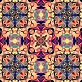 Seamless raster pattern in oriental style Flower psychedelic mosaic Pattern for wallpaper, backgrounds, decor for tapestries. Psyc Royalty Free Stock Photo