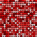Seamless red abstract pattern. Geometric print composed of hearts on dark background. Imitation of mosaic.
