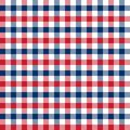Seamless red and blue 4th of July Independence Day gingham check pattern background.