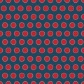 Seamless red dots on blue background pattern print