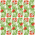Seamless red flower pattern vector illustrated Stock Photo