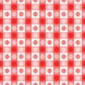 Seamless red gingham geometrical pattern floral sun symbols fun fabric wallpaper background Royalty Free Stock Images