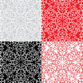 Seamless red, grey color and black and white floral patterns. Or