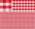 Seamless red picnic tablecloth checked pattern and result samples x with good for checkered creation of any size Royalty Free Stock Photography