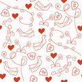 Seamless red romantic pattern with doves Stock Images