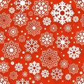 Seamless red and white snowflake background