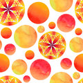 Seamless red and yellow bubble pattern on a white background