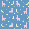 Seamless repeat pattern with cute pink fluffy llamas or alpacas on blue background