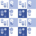Seamless repeat pattern pathwork quilt effect floral squares Royalty Free Stock Photography