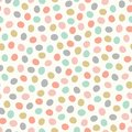 Seamless repeat tossed pattern of hand drawn polka dots. Cute pastel coloured spots in a vector design background.