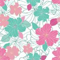 Seamless  repeat tropical hibiscus flower and leaf pattern Royalty Free Stock Photo