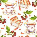 Seamless repeated pattern - tea cup, raspberry berries, dessert cakes. Watercolor Royalty Free Stock Photo