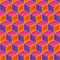 Seamless repeating colorful isometric cube pattern texture element