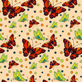 Seamless repeating pattern with colorful butterflies and circles Royalty Free Stock Photo