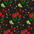 Seamless repeating pattern with colorful butterflies and tulips. Royalty Free Stock Photo