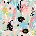 Seamless repeating pattern with floral elements in pastel colors on white background.