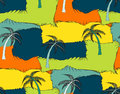 A seamless repeating pattern of palm trees and rectangles in the