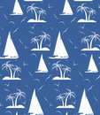 A seamless repeating pattern of palm trees and sailing ships.Vec