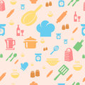 Seamless repetitive pattern with kitchen items in retro style Stock Photos