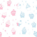 Seamless retro baby boy girl cupcake pattern Royalty Free Stock Photography