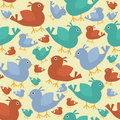 Seamless Retro Birds Background Royalty Free Stock Image