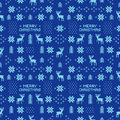 Seamless retro blue christmas pattern with deers trees and snowflakes Royalty Free Stock Photo
