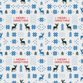 Seamless retro blue christmas pattern with deers, trees and snowflakes