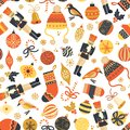 Seamless retro Christmas vector pattern background. Nutcracker, hat, mittens, stocking, candy cane, bird, ornaments. Repeating