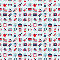 Seamless retro education back to school pattern cartoon vector illustration Royalty Free Stock Photos