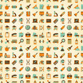 Seamless retro education back to school pattern cartoon vector illustration Stock Images