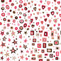 Seamless retro fifties squares circles stars hearts design Royalty Free Stock Image