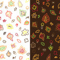 Seamless retro fifties stroke autumn leaves nuts pattern Royalty Free Stock Photos