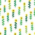 Seamless retro fifties sunflower field pattern Royalty Free Stock Photo