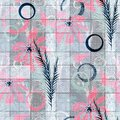 Seamless retro floral pattern. Pink flowers on a blue checkered background.