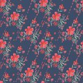 Seamless retro floral pattern, red flowers on dark blue background. Royalty Free Stock Photo