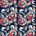 Seamless retro floral pattern . Red, white flowers on dark blue background. Royalty Free Stock Photo