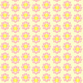Seamless retro flowered wallpaper simple pink flowers on a yellow background style Royalty Free Stock Photo