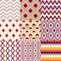 Seamless retro geometric pattern set Royalty Free Stock Photo