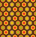 Seamless retro honeycomb pattern s with different colors Stock Photo