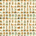 Seamless retro house pattern cartoon vector illustration Royalty Free Stock Photos