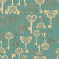 Seamless retro keys pattern background for your design or scrapbook Royalty Free Stock Photo