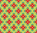 Seamless retro pattern with blue and red flowers Royalty Free Stock Photo