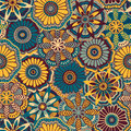 Seamless retro pattern from decorative doodle flowers