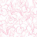 Seamless retro pattern with orchid hand drawn illustration of a new shabby chic embroidery motif flowers Stock Photos